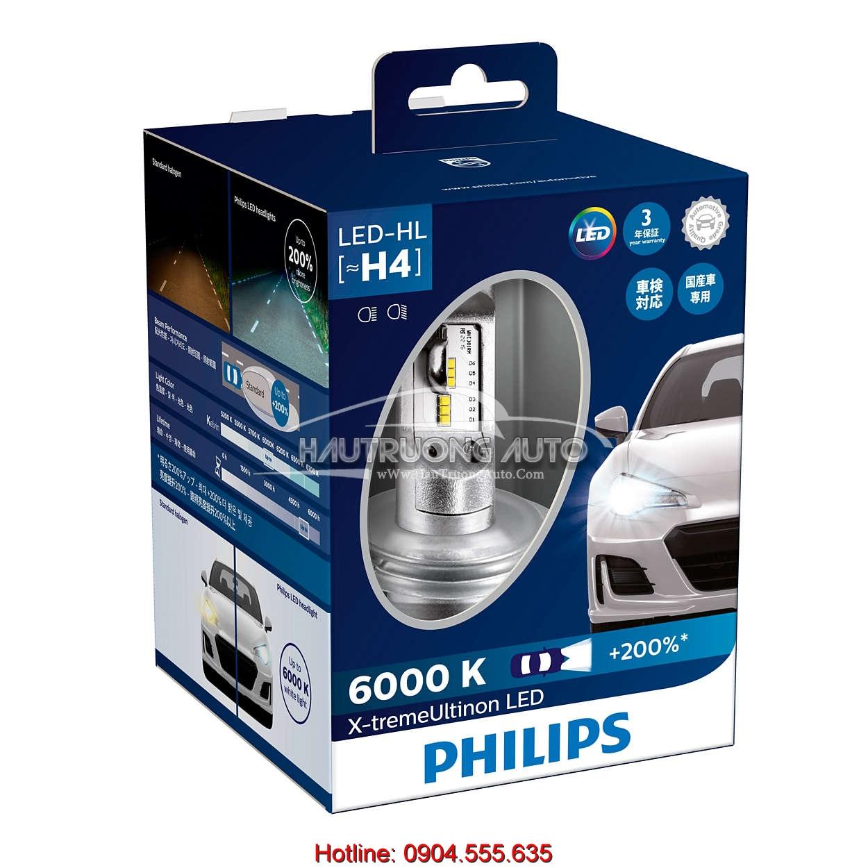 Bộ bóng đèn LED Philips X-treme Ultinon H4