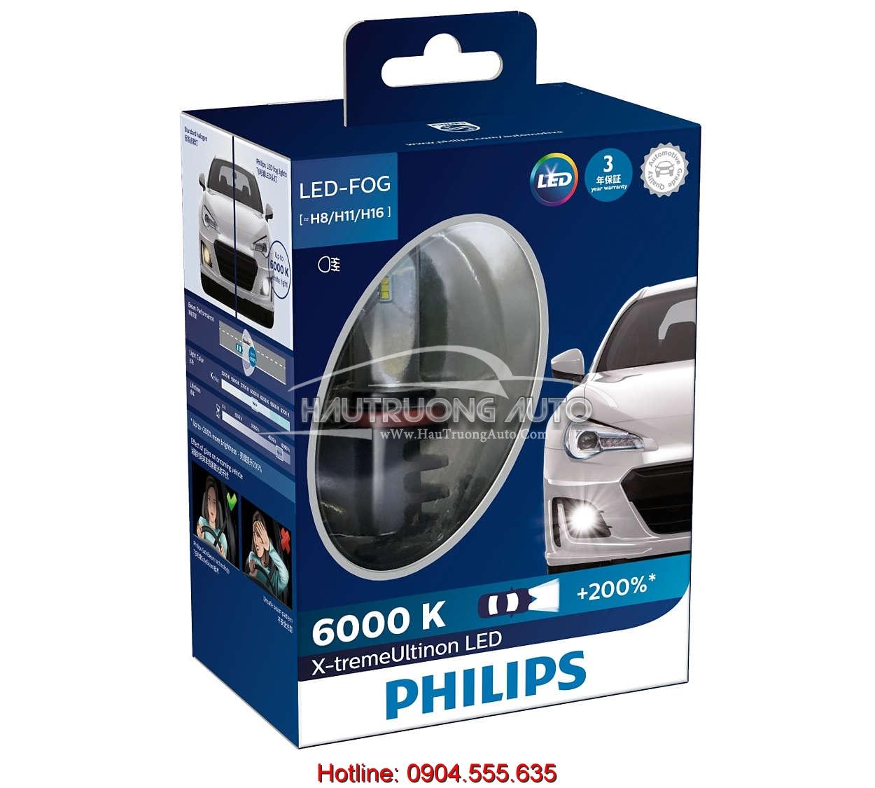 Bóng đèn LED Philips X-treme Ultinon H8/H11/H16
