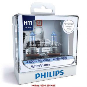 Bộ bóng đèn H11 Philips WhiteVision cường độ cao