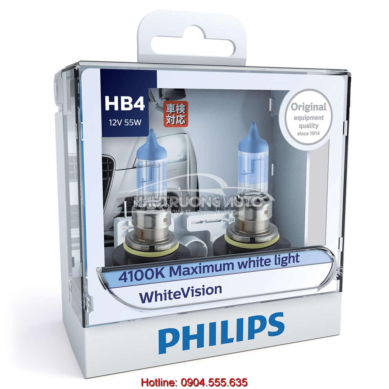 Bộ bóng đèn HB4 Philips WhiteVision cường độ cao