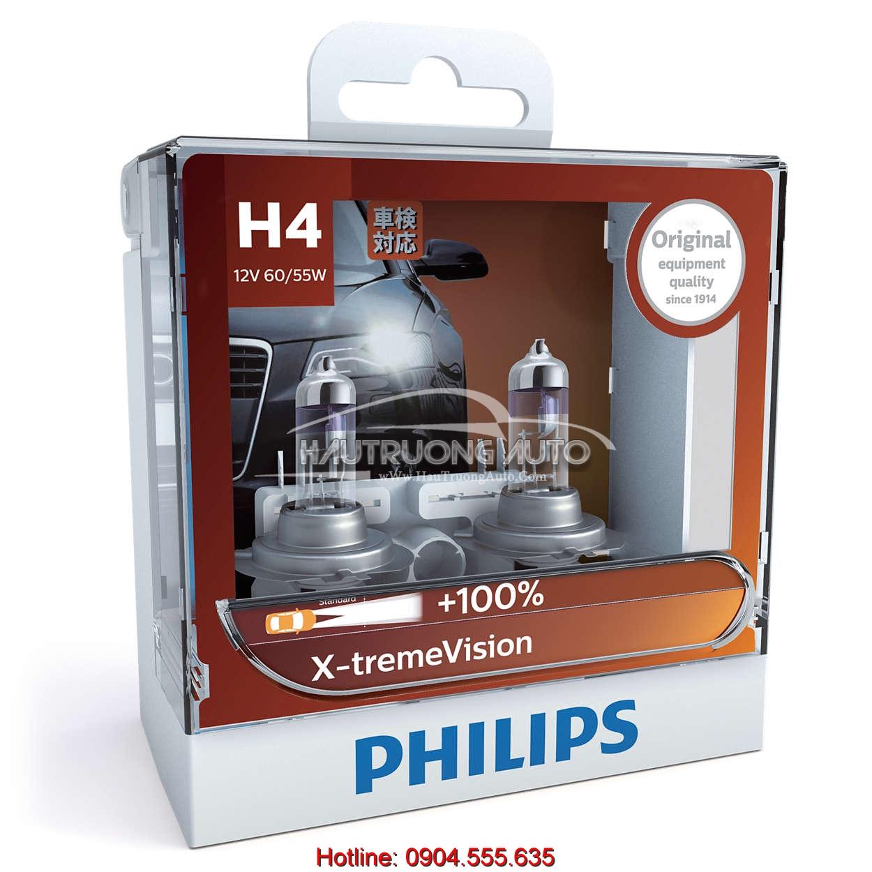 Bóng đèn tăng sáng 100% H4 Philips X-tremeVision