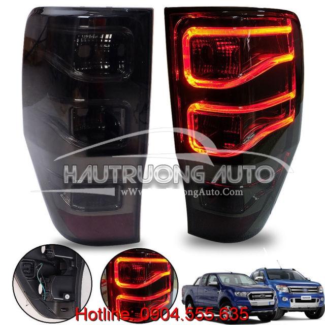 Đèn hậu nguyên bộ LED Smoked 3D cho xe Ford Ranger
